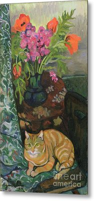 Bouquet And A Cat Metal Print by Marie Clementine Valadon
