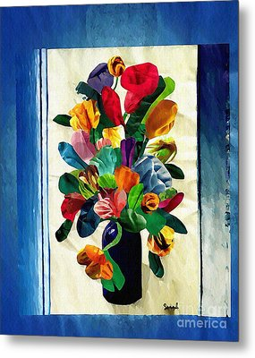 Bouquet In A Country Window Metal Print