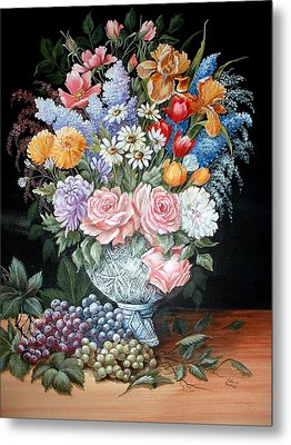 Bouquet In A Crystal Vase Metal Print