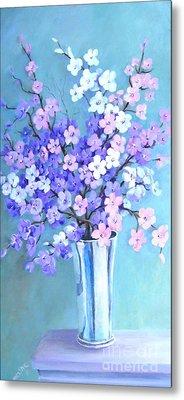Bouquet In Silver Vase Metal Print