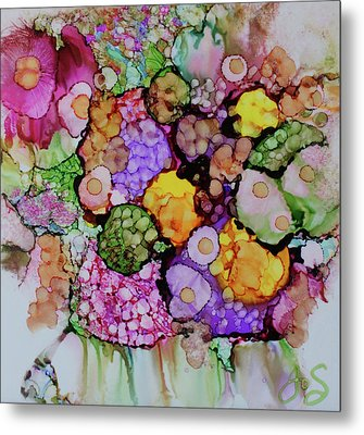 Metal Print featuring the painting Bouquet Of Blooms by Joanne Smoley