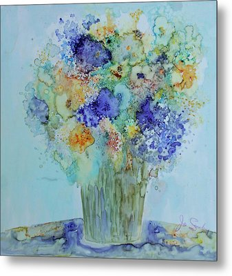 Metal Print featuring the painting Bouquet Of Blue And Gold by Joanne Smoley