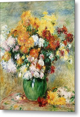 Bouquet Of Chrysanthemums Metal Print by Pierre Auguste Renoir