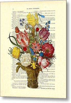Bouquet Of Flowers On Dictionary Paper Metal Print