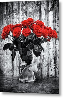 Bouquet Of Roses Metal Print by Wim Lanclus