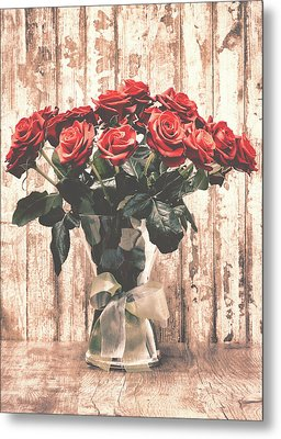 Bouquet Roses Metal Print by Wim Lanclus