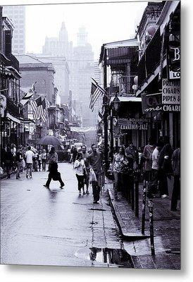 Bourbon Street In The Rain Metal Print