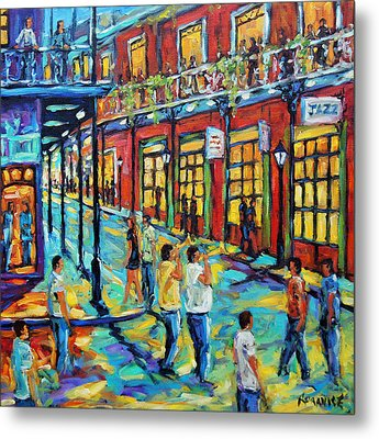 Bourbon Street New Orleans By Prankearts Metal Print by Richard T Pranke