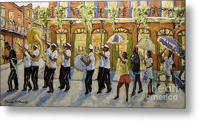 Bourbon Street Second Line New Orleans Metal Print by Richard T Pranke