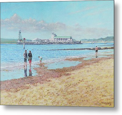 Metal Print featuring the painting Bournemouth Pier Late Summer Morning by Martin Davey