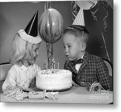 Bow Blowing Out Candles On Birthday Metal Print