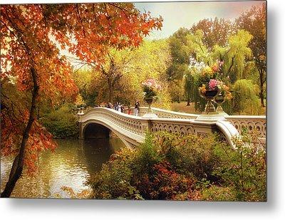 Bow Bridge Autumn Crossing Metal Print by Jessica Jenney