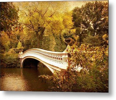 Bow Bridge Autumn Gold Metal Print by Jessica Jenney