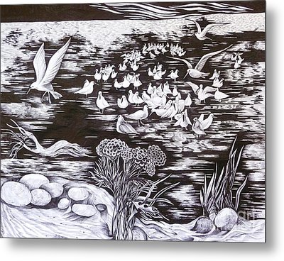 Metal Print featuring the drawing Bow River by Anna  Duyunova