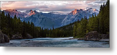 Metal Print featuring the photograph Bow River Sunset Reflections Panorama by Dave Dilli