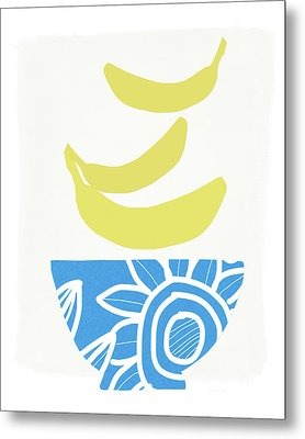 Bowl Of Bananas- Art By Linda Woods Metal Print by Linda Woods