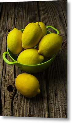 Bowl Of Lemons Metal Print by Garry Gay
