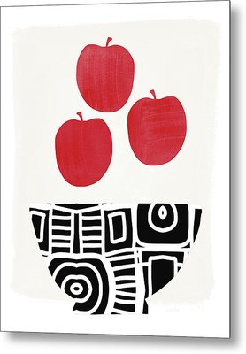 Bowl Of Red Apples- Art By Linda Woods Metal Print by Linda Woods