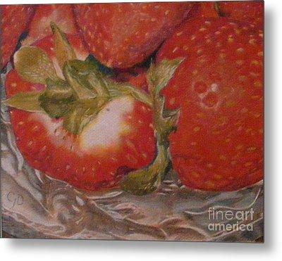 Bowl Of Strawberries Metal Print by Crispin  Delgado