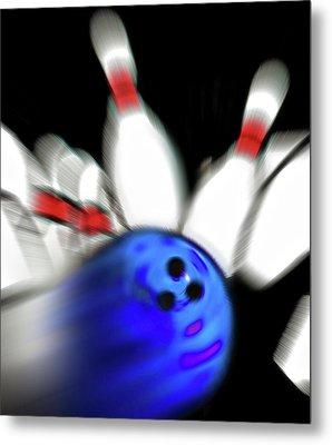 Bowling Sign 2 - Strike  Metal Print by Steve Ohlsen