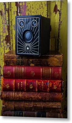 Box Camera And Books Metal Print by Garry Gay