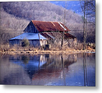 Boxely Barn Reflection Metal Print by Curtis J Neeley Jr