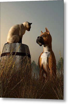 Boxer And Siamese Metal Print by Daniel Eskridge