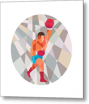 Boxer Boxing Punching Circle Low Polygon Metal Print