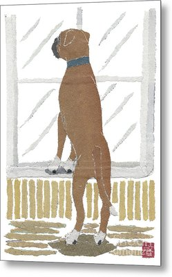 Boxer Dog Art Hand-torn Newspaper Collage Art Metal Print by Keiko Suzuki Bless Hue