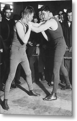Boxer Frank Moran In Training Metal Print by Underwood Archives