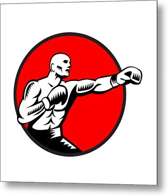 Boxer Jabbing Punching Circle Woodcut Metal Print