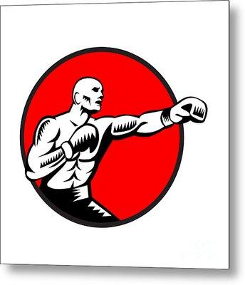 Boxer Jabbing Punching Circle Woodcut Metal Print by Aloysius Patrimonio