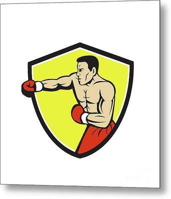 Boxer Jabbing Punching Crest Cartoon Metal Print