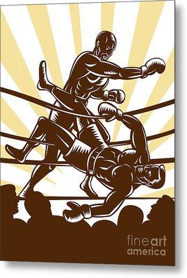 Boxer Knocking Out Metal Print by Aloysius Patrimonio