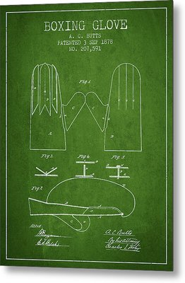Boxing Glove Patent From 1878 - Green Metal Print by Aged Pixel