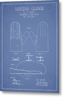 Boxing Glove Patent From 1878 - Light Blue Metal Print by Aged Pixel