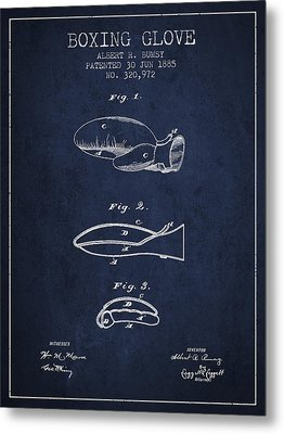 Boxing Glove Patent From 1885 - Navy Blue Metal Print by Aged Pixel