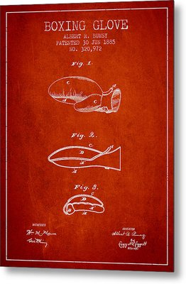 Boxing Glove Patent From 1885 - Red Metal Print by Aged Pixel