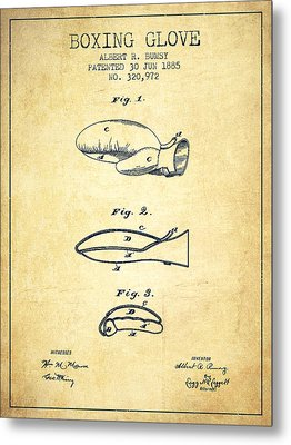 Boxing Glove Patent From 1885 - Vintage Metal Print by Aged Pixel