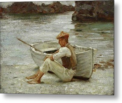 Metal Print featuring the painting Boy And Boat  by Henry Scott Tuke