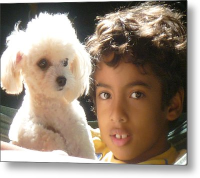 Metal Print featuring the photograph Boy And Dog by Beto Machado