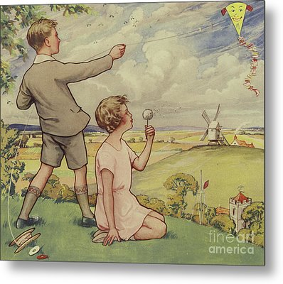 Boy And Girl Flying A Kite Metal Print by English School