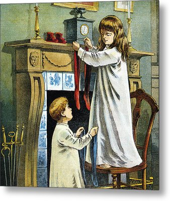 Boy And Girl Place Stockings On Their Fireplace Mantle On Christmas Eve Metal Print