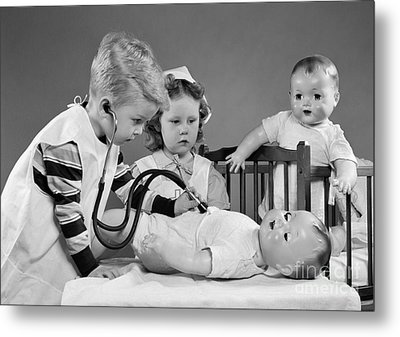 Boy And Girl Playing Doctor, C.1950s Metal Print by H. Armstrong Roberts/ClassicStock
