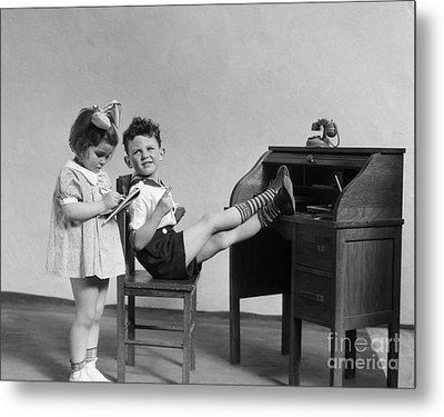 Boy And Girl Playing Office, C.1930s Metal Print by H. Armstrong Roberts/ClassicStock