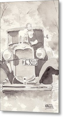 Boy And His Dog On An Old Car Metal Print by Ken Powers