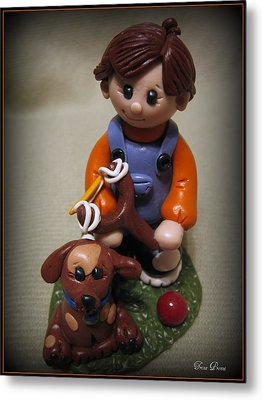 Boy And His Dog Metal Print by Trina Prenzi