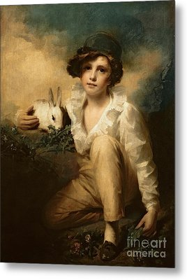 Boy And Rabbit Metal Print by Sir Henry Raeburn