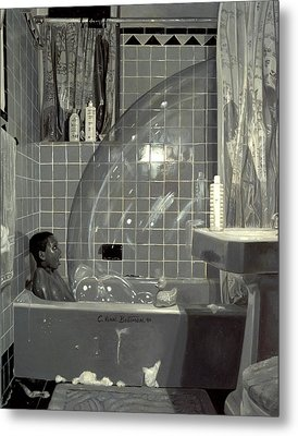 Boy And The Bubble Metal Print