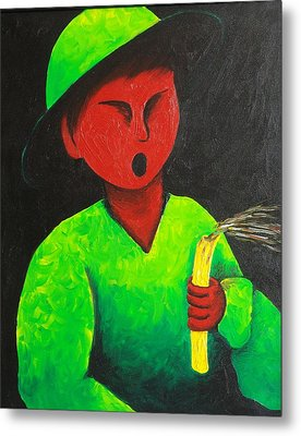 Boy Blowing Out Candle  1987 Metal Print by S A C H A -  Circulism Technique